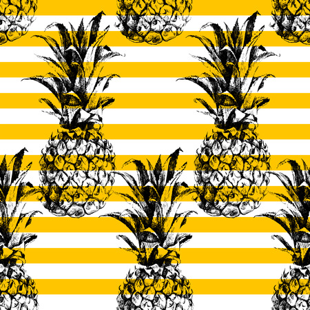 retro seamless pattern: Hand drawn striped pineapple seamless pattern