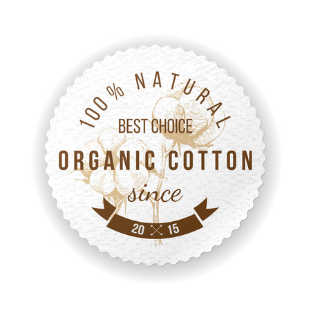 Etiqueta redonda de algodón orgánico con diseño tipográfico