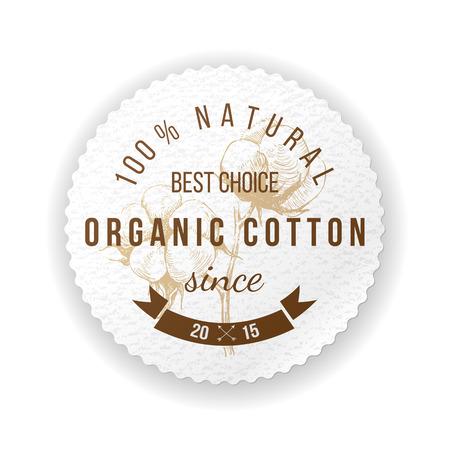 Organic cotton round label with type design