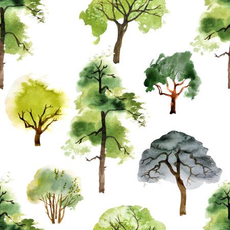 albero da frutto: seamless con alberi acquerello su sfondo bianco