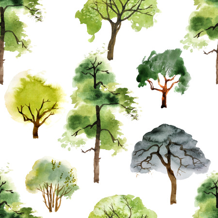 seamless pattern with watercolor trees on white background Ilustração