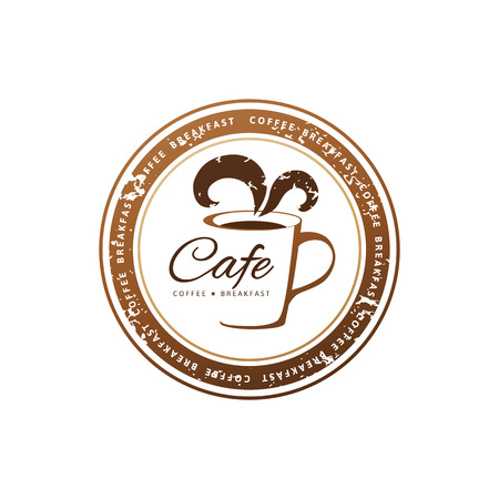 decorative coffee stamps over white background Illustration