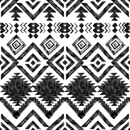 Black and white hand drawn tribal seamless pattern Vectores