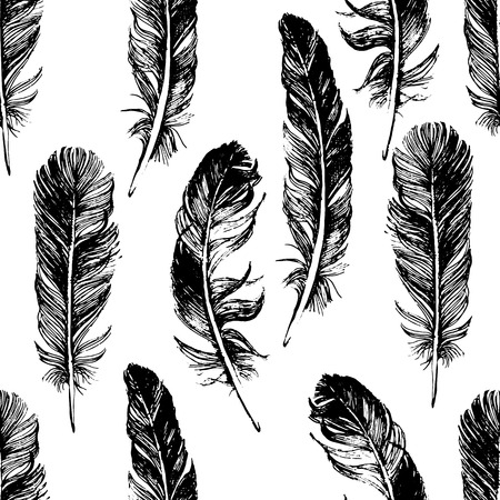 feather quill: seamless pattern with hand drawn feathers