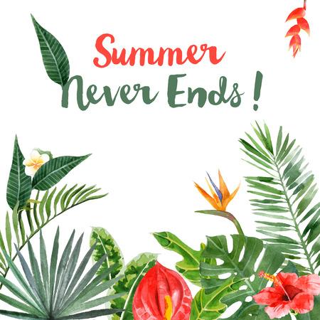 clima tropical: Fondo con plantas tropicales dibujado a mano de la acuarela