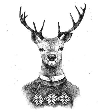 kneated 스웨터에 손으로 그린 사슴 초상화