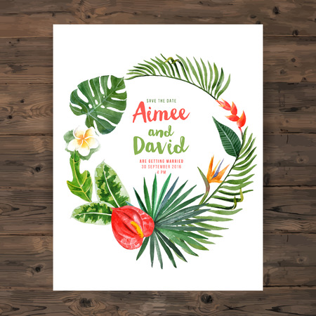 philodendron: Save the date background with watercolor tropical wreath