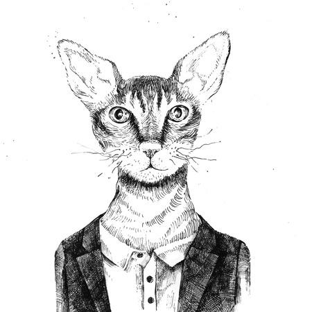 Mano inconformista dibujado gato vestido con estilo urbano