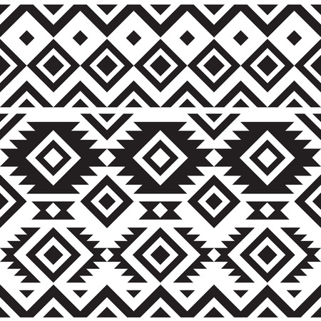 aztec: black and white geometry tribal seamless pattern