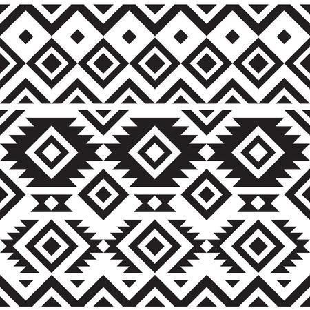 black and white geometry tribal seamless pattern