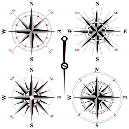 wind rose: 4 black and white wind rose icons