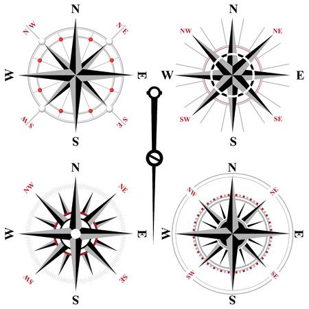 Rosa de los vientos: 4 de viento blanco y negro iconos rosa Vectores