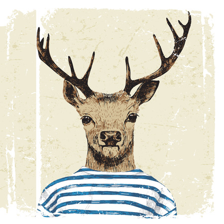 dressed up: Hand drawn dressed up deer in hipster style