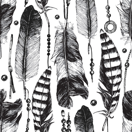 black feather: Seamless pattern with hand drawn feathers on white background Illustration