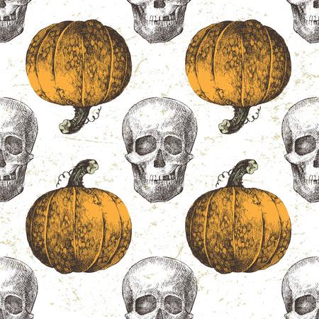 scary pumpkin: Hand drawn Halloween seamless pattern with pumpkin and skull Illustration