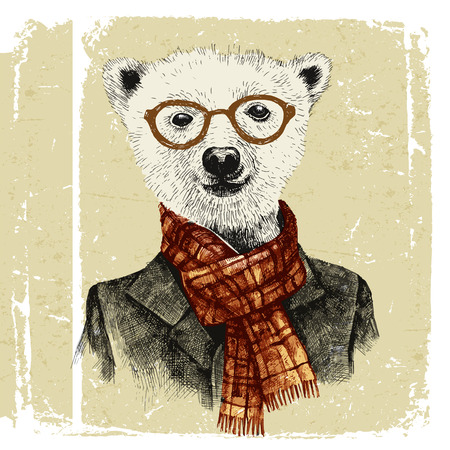 Hand drawn dressed up hipster bear in glasses in vintage style