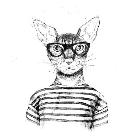 손을 흰색 배경에 힙 스터 고양이 옷을 입고 그려