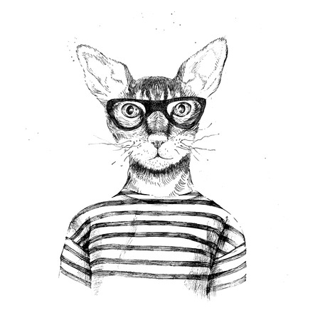 Hand drawn dressed up hipster cat on white background