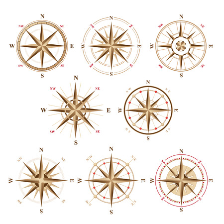 bussola: 8 rosa dei venti icone in stile vintage Vettoriali