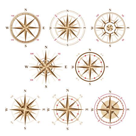 8 rose des vents icônes dans le style vintage Banque d'images - 43870915
