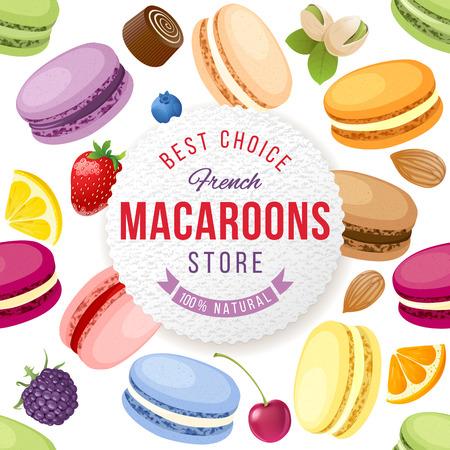 新鮮でおいしいマカロンを背景にマカロン店エンブレム  イラスト・ベクター素材
