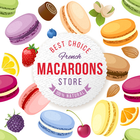 france: Macaroons store emblem over background with fresh and tasty macaroons
