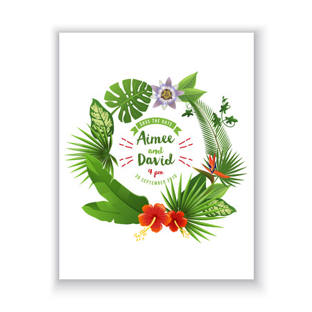 palm wreath: Save the date card with tropical wreath on white background