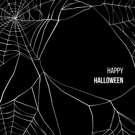 spider: Black background with spider web and place for your text