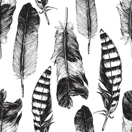 Seamless pattern with hand drawn feathers on white background Stock Illustratie