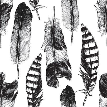 pluma: Patrón sin fisuras con dibujados a mano plumas en el fondo blanco