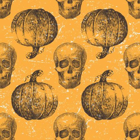 esqueleto: De Halloween sin patrón, con la calabaza y el cráneo