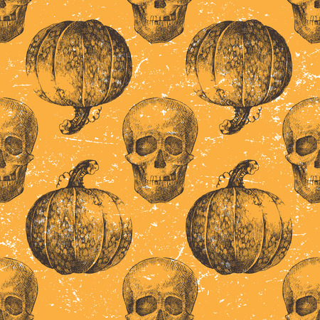 pumpkin head:  Halloween seamless pattern with pumpkin and skull Illustration