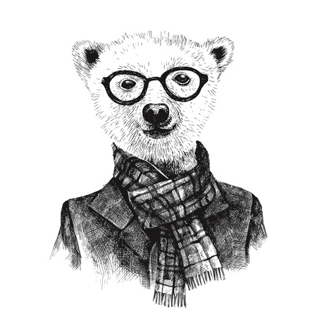 Hand drawn black and white dressed up hipster bear in glasses Illustration