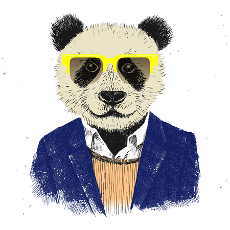 dressed up hipster panda in glasses Иллюстрация