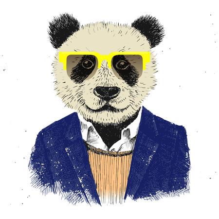 dressed up hipster panda in glasses Illustration
