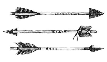 flecha: flechas en el estilo tribal en el fondo blanco