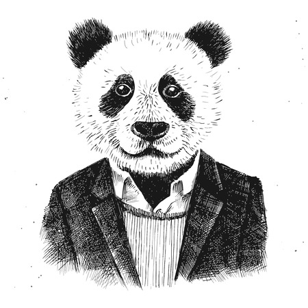dressed up hipster panda on white background Çizim
