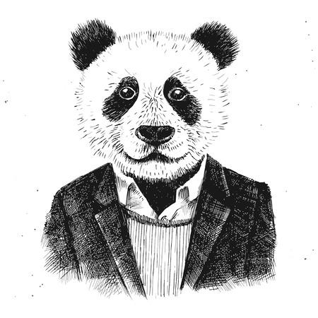 conception: habillé panda hipster sur fond blanc Illustration