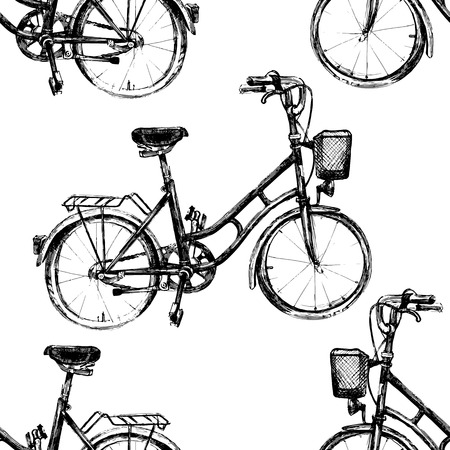 black and white: black and white seamless pattern with bicycle Illustration