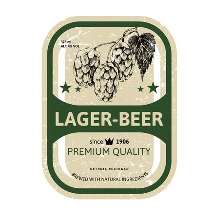 Beer label design with hand drawn hop brunch Illustration