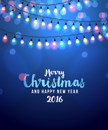 card with colorful Christmas lights