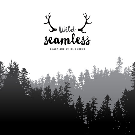 fog: Vector illustration of  seamless coniferous forest border
