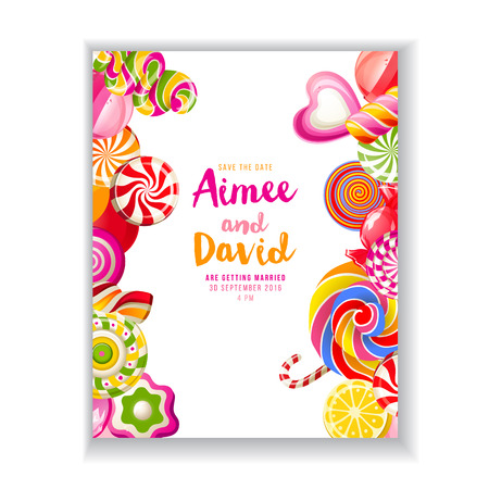 caramel candy: bright save the date background with candies
