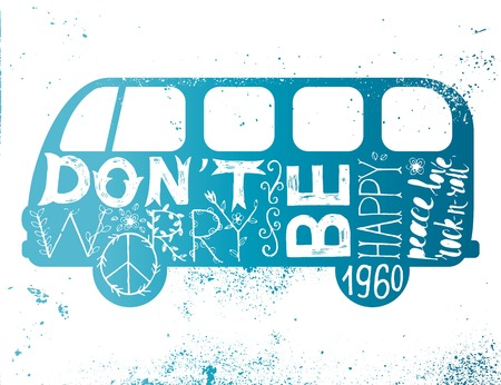 dont worry: Vintage hippie time decorated van. Dont worry, be happy. Peace, love, rock-n-roll Illustration