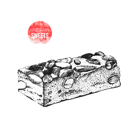 nougat: Hand drawn black and white  nougat with nuts