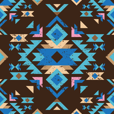 aztec: colorful geometry tribal seamless pattern