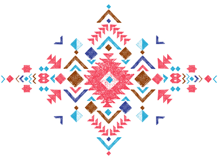 aztec: colorful hand drawn tribal design element