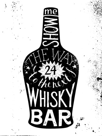 whisky bottle: Hand drawn whisky silhouette with type design - show me the way to the next whisky bar Illustration