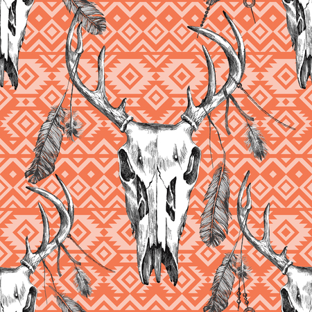 scull: highly detailed seamless pattern with deer scull, feathers and tribal ornaments