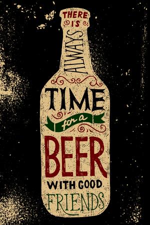 Bierfles met type design - er is altijd tijd voor een biertje met goede vrienden